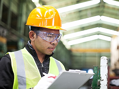 worker with notepad