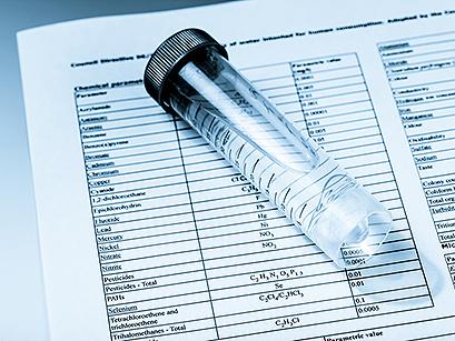 water vial on paper